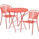 30'' Round Coral Indoor-Outdoor Steel Folding Patio Table Set with 2 Round Back Chairs [CO-30RDF-03CHR2-RED-GG]