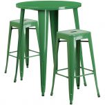 30'' Round Green Metal Indoor-Outdoor Bar Table Set with 2 Square Seat Backless Barstools [CH-51090BH-2-30SQST-GN-GG]
