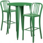 30'' Round Green Metal Indoor-Outdoor Bar Table Set with 2 Vertical Slat Back Barstools [CH-51090BH-2-30VRT-GN-GG]