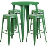 30'' Round Green Metal Indoor-Outdoor Bar Table Set with 4 Square Seat Backless Barstools [CH-51090BH-4-30SQST-GN-GG]
