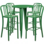 30'' Round Green Metal Indoor-Outdoor Bar Table Set with 4 Vertical Slat Back Barstools [CH-51090BH-4-30VRT-GN-GG]
