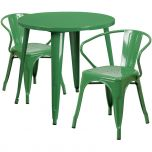 30'' Round Green Metal Indoor-Outdoor Table Set with 2 Arm Chairs [CH-51090TH-2-18ARM-GN-GG]