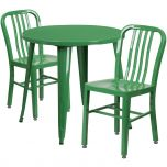 30'' Round Green Metal Indoor-Outdoor Table Set with 2 Vertical Slat Back Chairs [CH-51090TH-2-18VRT-GN-GG]