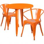 30'' Round Orange Metal Indoor-Outdoor Table Set with 2 Arm Chairs [CH-51090TH-2-18ARM-OR-GG]