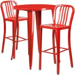 30'' Round Red Metal Indoor-Outdoor Bar Table Set with 2 Vertical Slat Back Barstools [CH-51090BH-2-30VRT-RED-GG]
