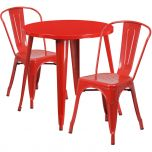 30'' Round Red Metal Indoor-Outdoor Table Set with 2 Cafe Chairs [CH-51090TH-2-18CAFE-RED-GG]