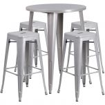 30'' Round Silver Metal Indoor-Outdoor Bar Table Set with 4 Square Seat Backless Barstools [CH-51090BH-4-30SQST-SIL-GG]