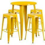 30'' Round Yellow Metal Indoor-Outdoor Bar Table Set with 4 Square Seat Backless Barstools [CH-51090BH-4-30SQST-YL-GG]