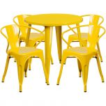 30'' Round Yellow Metal Indoor-Outdoor Table Set with 4 Arm Chairs [CH-51090TH-4-18ARM-YL-GG]