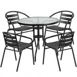 31.5'' Round Glass Metal Table with 4 Black Metal Aluminum Slat Stack Chairs [TLH-072RD-017CBK4-GG]