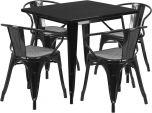31.5'' Square Black Metal Indoor-Outdoor Table Set with 4 Arm Chairs [ET-CT002-4-70-BK-GG]