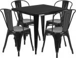 31.5'' Square Black Metal Indoor-Outdoor Table Set with 4 Stack Chairs [ET-CT002-4-30-BK-GG]
