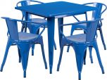 31.5'' Square Blue Metal Indoor-Outdoor Table Set with 4 Arm Chairs [ET-CT002-4-70-BL-GG]