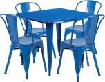 31.5'' Square Blue Metal Indoor-Outdoor Table Set with 4 Stack Chairs [ET-CT002-4-30-BL-GG]