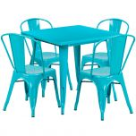 31.5'' Square Crystal Teal-Blue Metal Indoor-Outdoor Table Set with 4 Stack Chairs [ET-CT002-4-30-CB-GG]