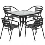 31.5'' Square Glass Metal Table with 4 Black Metal Aluminum Slat Stack Chairs [TLH-0732SQ-017CBK4-GG]