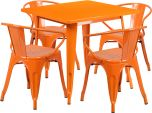 31.5'' Square Orange Metal Indoor-Outdoor Table Set with 4 Arm Chairs [ET-CT002-4-70-OR-GG]