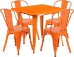 31.5'' Square Orange Metal Indoor-Outdoor Table Set with 4 Stack Chairs [ET-CT002-4-30-OR-GG]