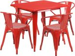 31.5'' Square Red Metal Indoor-Outdoor Table Set with 4 Arm Chairs [ET-CT002-4-70-RED-GG]