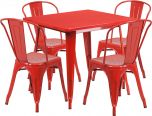 31.5'' Square Red Metal Indoor-Outdoor Table Set with 4 Stack Chairs [ET-CT002-4-30-RED-GG]