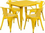 31.5'' Square Yellow Metal Indoor-Outdoor Table Set with 4 Arm Chairs [ET-CT002-4-70-YL-GG]