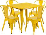 31.5'' Square Yellow Metal Indoor-Outdoor Table Set with 4 Stack Chairs [ET-CT002-4-30-YL-GG]