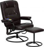 Massaging Brown Leather Recliner and Ottoman with Metal Bases [BT-703-MASS-BN-GG]