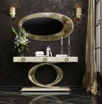 Almeria Modern Console Table in High Gloss Ivory & Gold