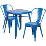 Blue Metal Indoor-Outdoor Table Set with 2 Stack Chairs [CH-31330-2-30-BL-GG]