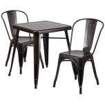 Black-Antique Gold Metal Indoor-Outdoor Table Set with 2 Stack Chairs [CH-31330-2-30-BQ-GG]