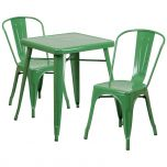 Green Metal Indoor-Outdoor Table Set with 2 Stack Chairs [CH-31330-2-30-GN-GG]