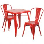 Red Metal Indoor-Outdoor Table Set with 2 Stack Chairs [CH-31330-2-30-RED-GG]