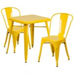 Yellow Metal Indoor-Outdoor Table Set with 2 Stack Chairs [CH-31330-2-30-YL-GG]