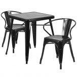 Black Metal Indoor-Outdoor Table Set with 2 Arm Chairs [CH-31330-2-70-BK-GG]