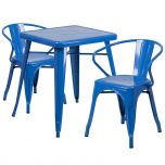 Blue Metal Indoor-Outdoor Table Set with 2 Arm Chairs [CH-31330-2-70-BL-GG]