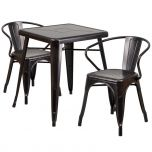Black-Antique Gold Metal Indoor-Outdoor Table Set with 2 Arm Chairs [CH-31330-2-70-BQ-GG]