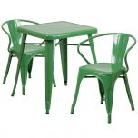 Green Metal Indoor-Outdoor Table Set with 2 Arm Chairs [CH-31330-2-70-GN-GG]