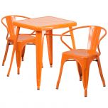 Orange Metal Indoor-Outdoor Table Set with 2 Arm Chairs [CH-31330-2-70-OR-GG]