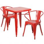 Red Metal Indoor-Outdoor Table Set with 2 Arm Chairs [CH-31330-2-70-RED-GG]