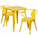 Yellow Metal Indoor-Outdoor Table Set with 2 Arm Chairs [CH-31330-2-70-YL-GG]