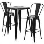 Black Metal Indoor-Outdoor Bar Table Set with 2 Barstools [CH-31330B-2-30GB-BK-GG]
