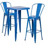 Blue Metal Indoor-Outdoor Bar Table Set with 2 Barstools [CH-31330B-2-30GB-BL-GG]