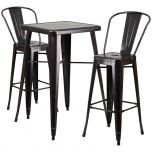 Black-Antique Gold Metal Indoor-Outdoor Bar Table Set with 2 Barstools [CH-31330B-2-30GB-BQ-GG]