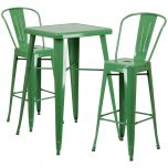 Green Metal Indoor-Outdoor Bar Table Set with 2 Barstools [CH-31330B-2-30GB-GN-GG]