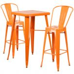 Orange Metal Indoor-Outdoor Bar Table Set with 2 Barstools [CH-31330B-2-30GB-OR-GG]