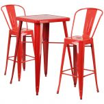 Red Metal Indoor-Outdoor Bar Table Set with 2 Barstools [CH-31330B-2-30GB-RED-GG]
