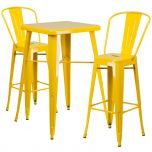Yellow Metal Indoor-Outdoor Bar Table Set with 2 Barstools [CH-31330B-2-30GB-YL-GG]