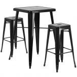 Black Metal Indoor-Outdoor Bar Table Set with 2 Backless Barstools [CH-31330B-2-30SQ-BK-GG]
