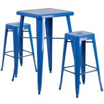 Blue Metal Indoor-Outdoor Bar Table Set with 2 Backless Barstools [CH-31330B-2-30SQ-BL-GG]