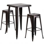 Black-Antique Gold Metal Indoor-Outdoor Bar Table Set with 2 Backless Barstools [CH-31330B-2-30SQ-BQ-GG]
